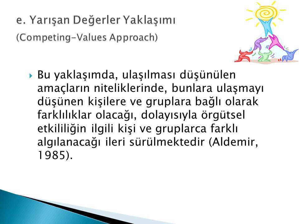 e. Yarışan Değerler Yaklaşımı (Competing-Values Approach)
