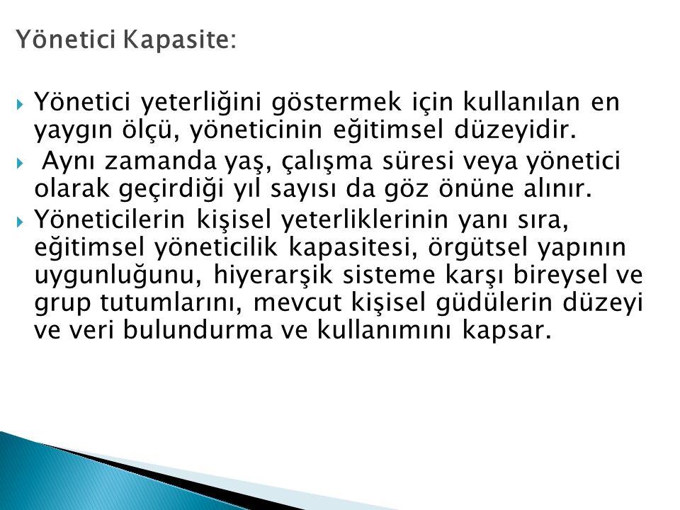 Yönetici Kapasite: Yönetici yeterliğini göstermek için kullanılan en yaygın ölçü, yöneticinin eğitimsel düzeyidir.