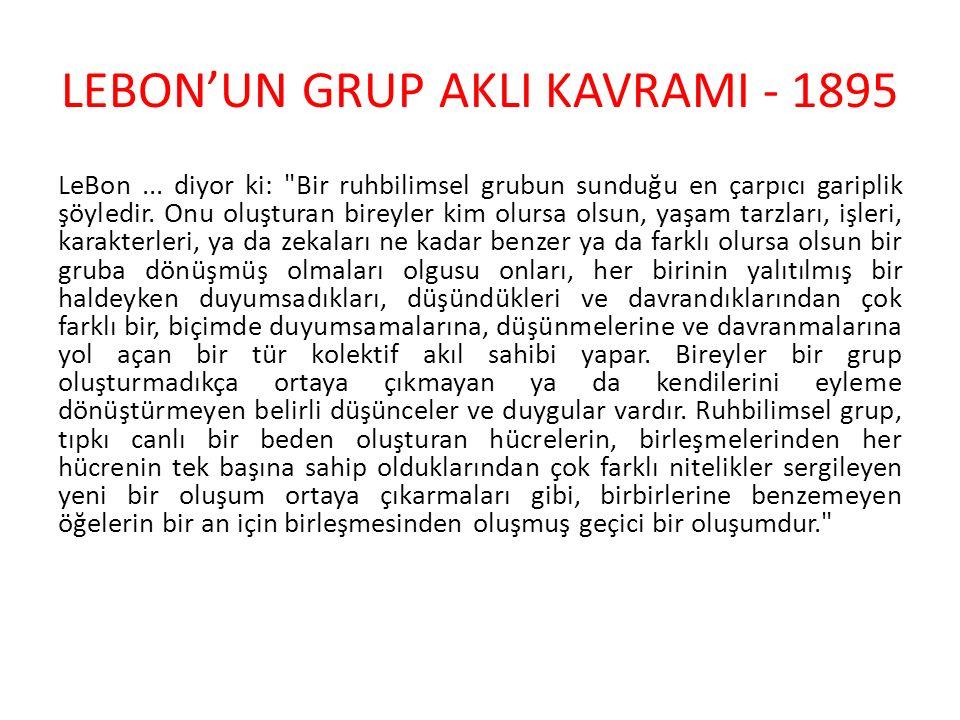 LEBON'UN GRUP AKLI KAVRAMI - 1895
