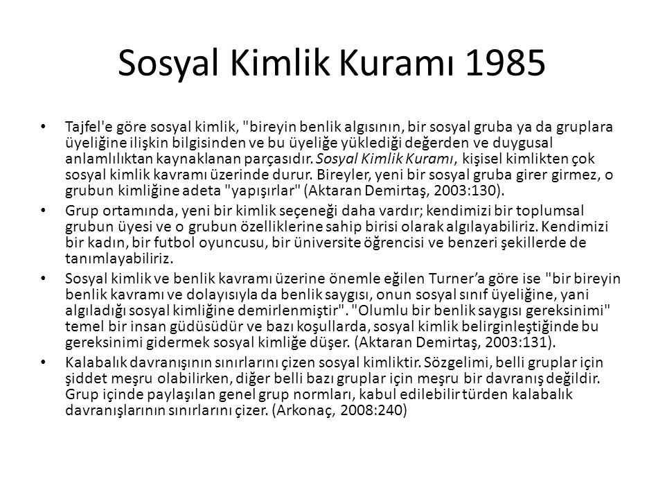 Sosyal Kimlik Kuramı 1985