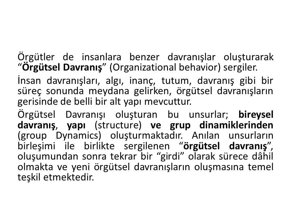 Örgütler de insanlara benzer davranışlar oluşturarak Örgütsel Davranış (Organizational behavior) sergiler.