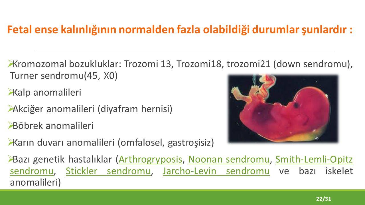 Fetal ense kalınlığının normalden fazla olabildiği durumlar şunlardır :