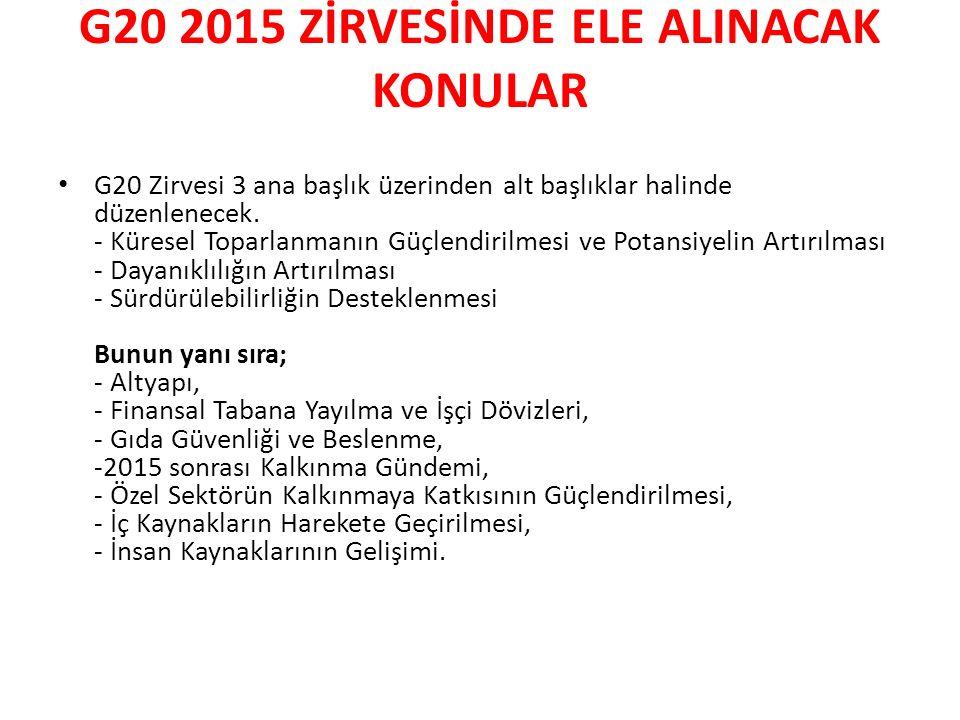 G20 2015 ZİRVESİNDE ELE ALINACAK KONULAR