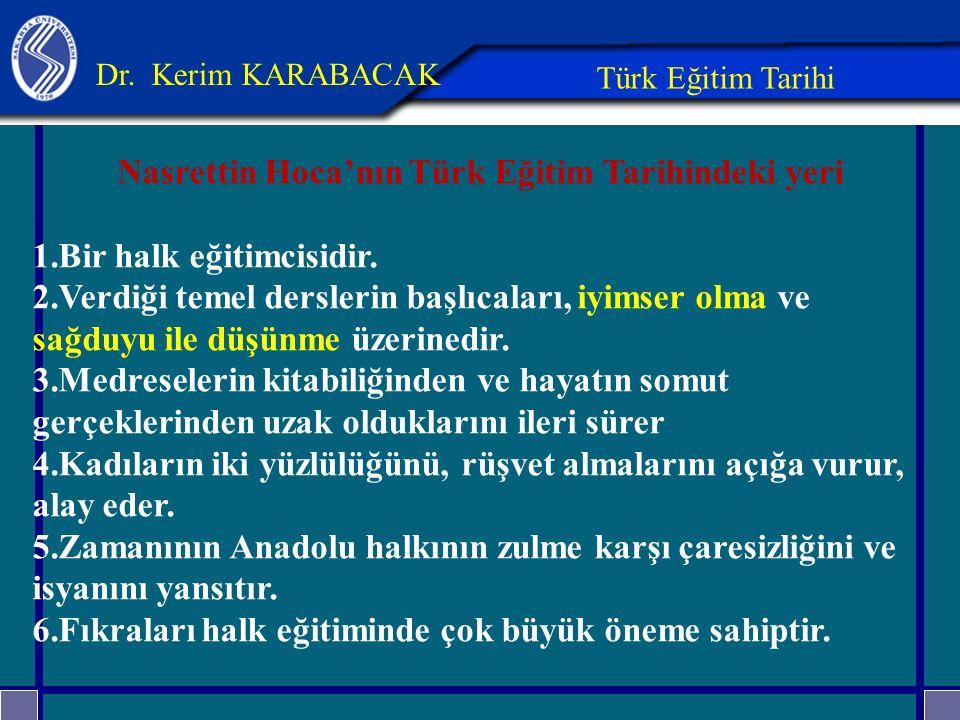 Nasrettin Hoca'nın Türk Eğitim Tarihindeki yeri