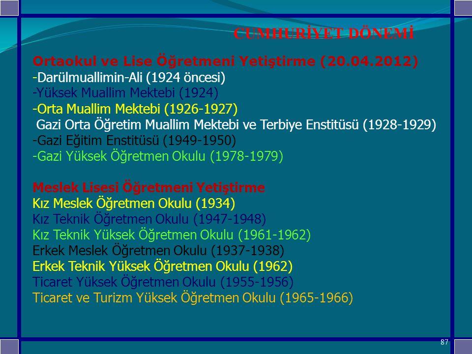CUMHURİYET DÖNEMİ Ortaokul ve Lise Öğretmeni Yetiştirme (20.04.2012)