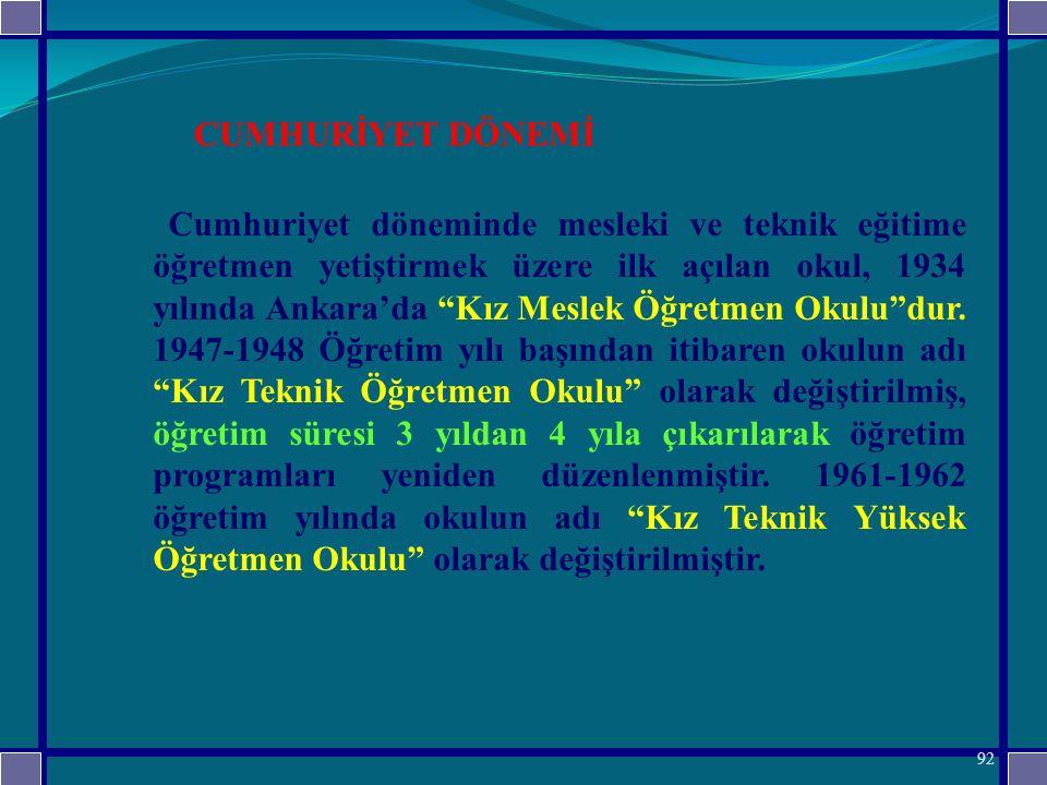 Cumhuriyet döneminde mesleki ve teknik eğitime öğretmen yetiştirmek üzere ilk açılan okul, 1934 yılında Ankara'da Kız Meslek Öğretmen Okulu dur. 1947-1948 Öğretim yılı başından itibaren okulun adı Kız Teknik Öğretmen Okulu olarak değiştirilmiş, öğretim süresi 3 yıldan 4 yıla çıkarılarak öğretim programları yeniden düzenlenmiştir. 1961-1962 öğretim yılında okulun adı Kız Teknik Yüksek Öğretmen Okulu olarak değiştirilmiştir.