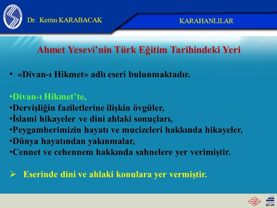 Ahmet Yesevi'nin Türk Eğitim Tarihindeki Yeri