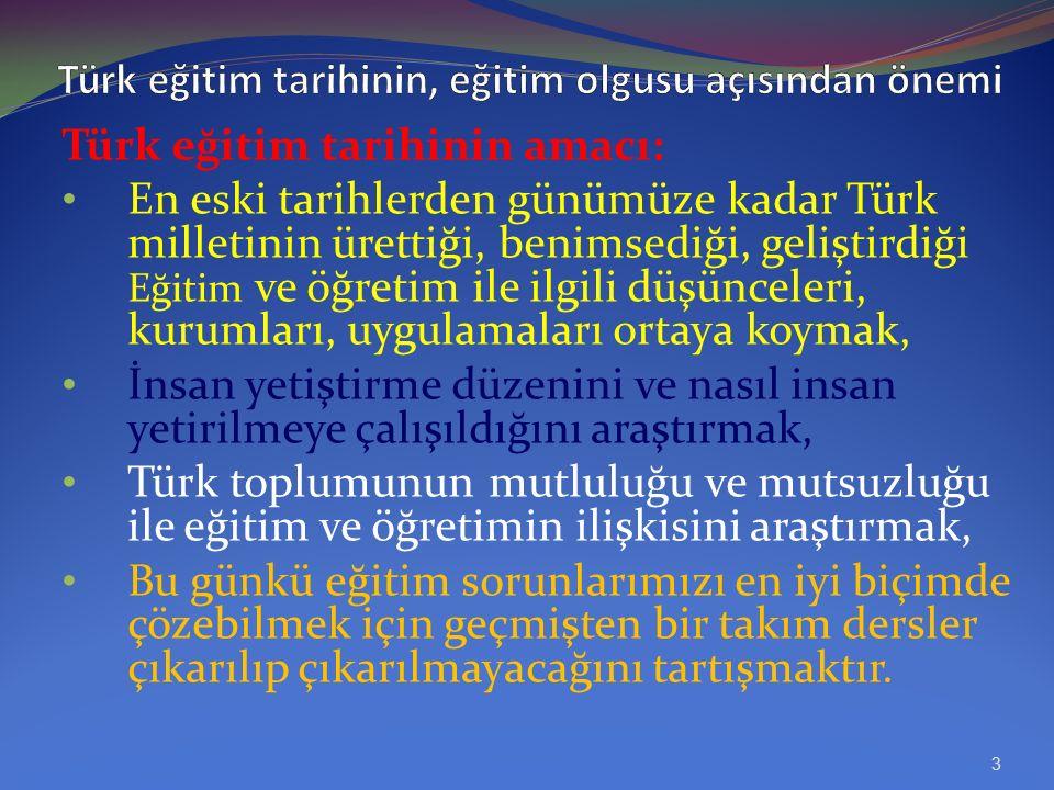 Türk eğitim tarihinin, eğitim olgusu açısından önemi