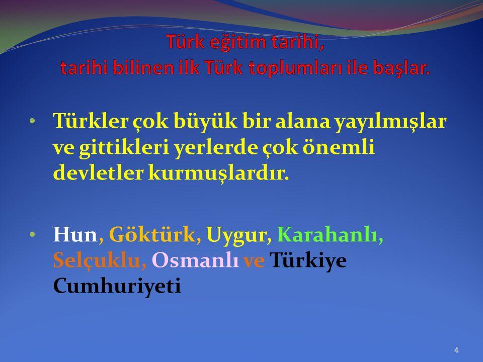 Türk eğitim tarihi, tarihi bilinen ilk Türk toplumları ile başlar.