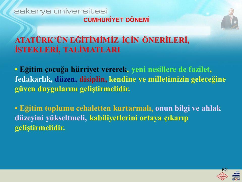 ATATÜRK'ÜN EĞİTİMİMİZ İÇİN ÖNERİLERİ, İSTEKLERİ, TALİMATLARI