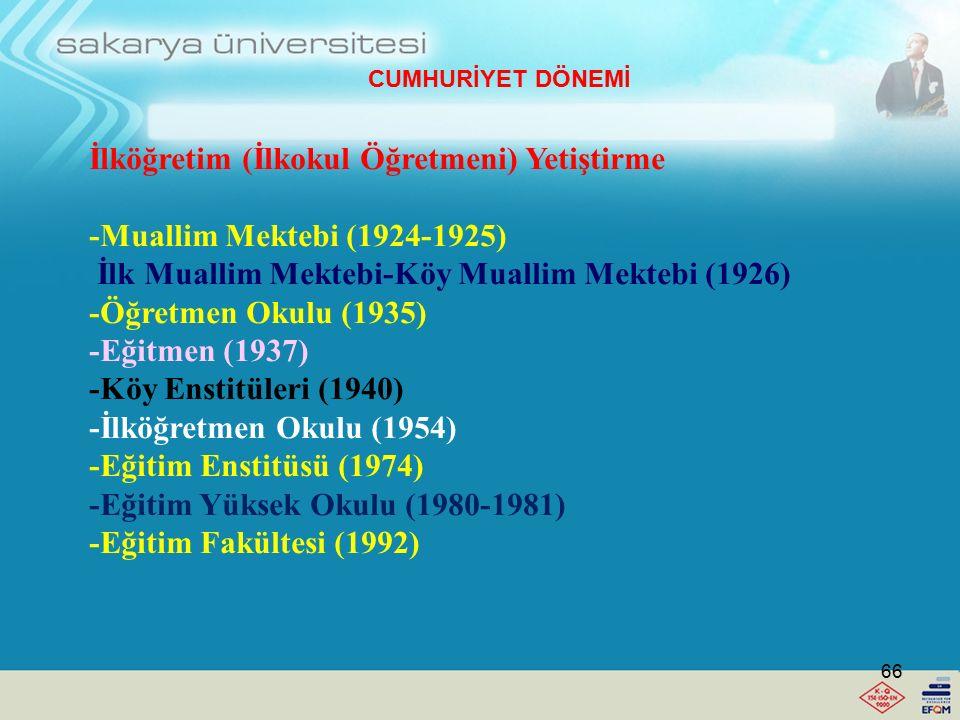 İlköğretim (İlkokul Öğretmeni) Yetiştirme -Muallim Mektebi (1924-1925)