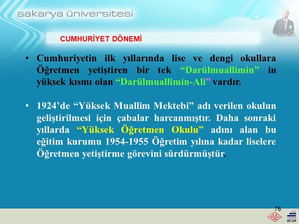 Cumhuriyetin ilk yıllarında lise ve dengi okullara Öğretmen yetiştiren bir tek Darülmuallimin in yüksek kısmı olan Darülmuallimin-Ali vardır.