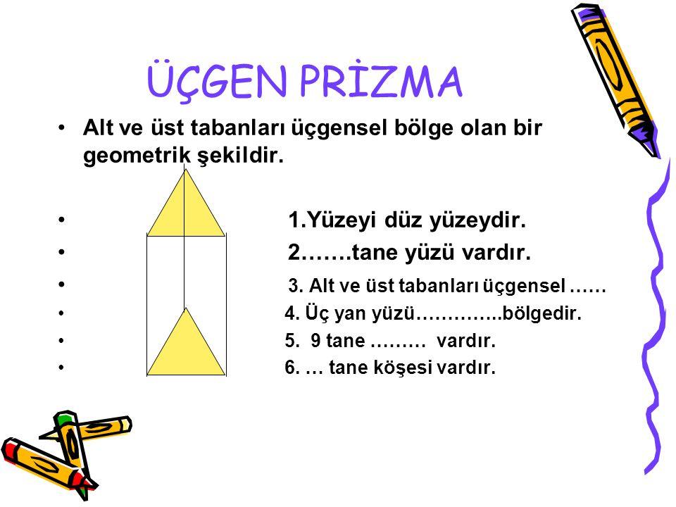 ÜÇGEN PRİZMA Alt ve üst tabanları üçgensel bölge olan bir geometrik şekildir. 1.Yüzeyi düz yüzeydir.