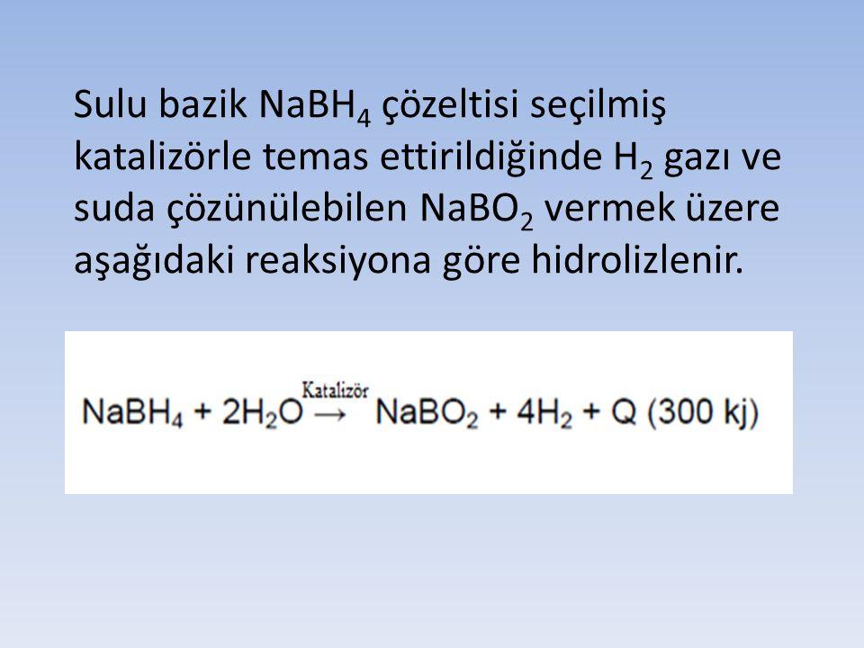Sulu bazik NaBH4 çözeltisi seçilmiş katalizörle temas ettirildiğinde H2 gazı ve suda çözünülebilen NaBO2 vermek üzere aşağıdaki reaksiyona göre hidrolizlenir.