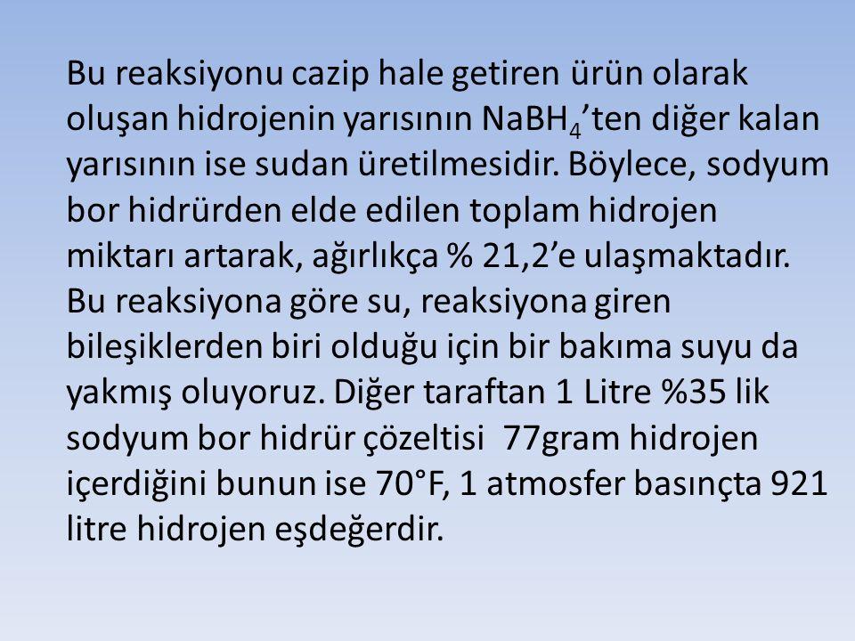 Bu reaksiyonu cazip hale getiren ürün olarak oluşan hidrojenin yarısının NaBH4'ten diğer kalan yarısının ise sudan üretilmesidir.