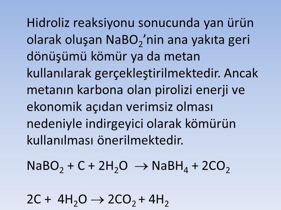 Hidroliz reaksiyonu sonucunda yan ürün olarak oluşan NaBO2'nin ana yakıta geri dönüşümü kömür ya da metan kullanılarak gerçekleştirilmektedir. Ancak metanın karbona olan pirolizi enerji ve ekonomik açıdan verimsiz olması nedeniyle indirgeyici olarak kömürün kullanılması önerilmektedir.