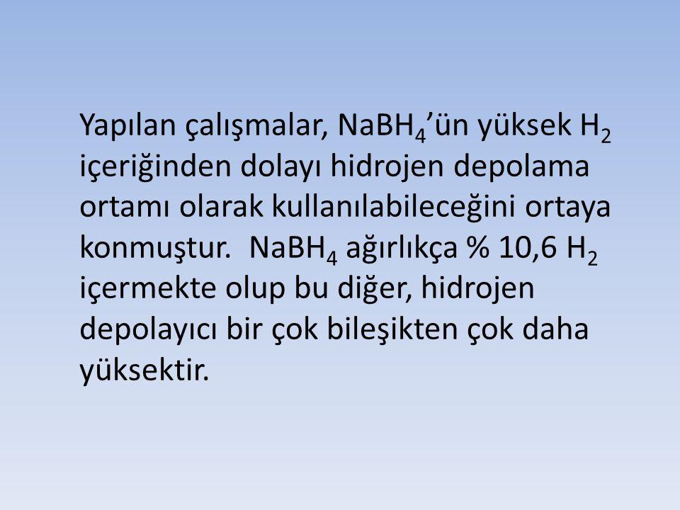Yapılan çalışmalar, NaBH4'ün yüksek H2 içeriğinden dolayı hidrojen depolama ortamı olarak kullanılabileceğini ortaya konmuştur.