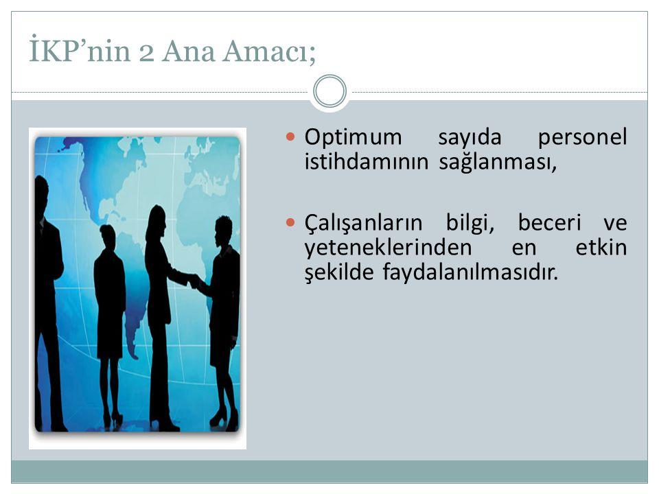 İKP'nin 2 Ana Amacı; Optimum sayıda personel istihdamının sağlanması,