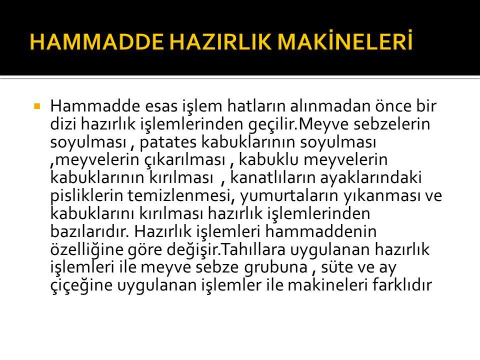 HAMMADDE HAZIRLIK MAKİNELERİ