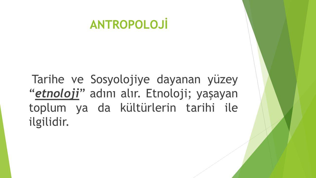 ANTROPOLOJİ Tarihe ve Sosyolojiye dayanan yüzey etnoloji adını alır.