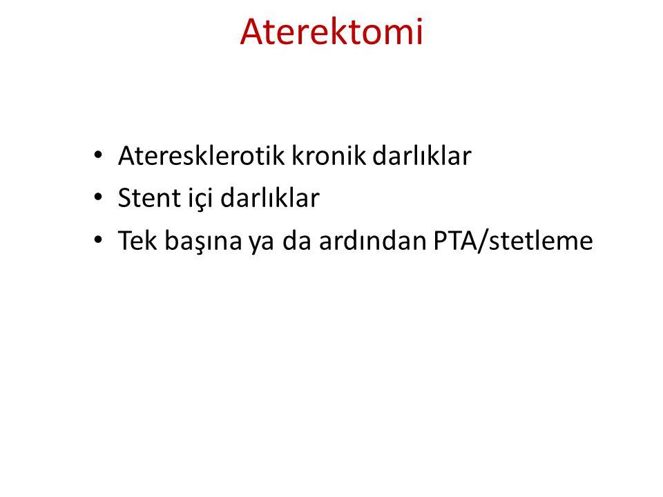 Aterektomi Ateresklerotik kronik darlıklar Stent içi darlıklar