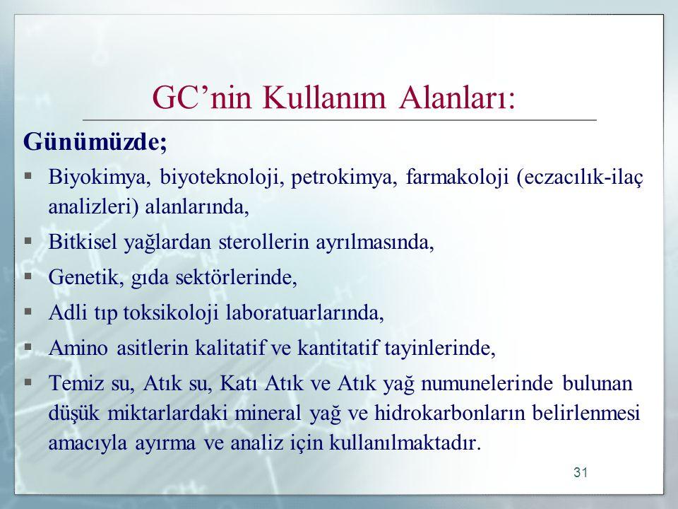 GC'nin Kullanım Alanları: