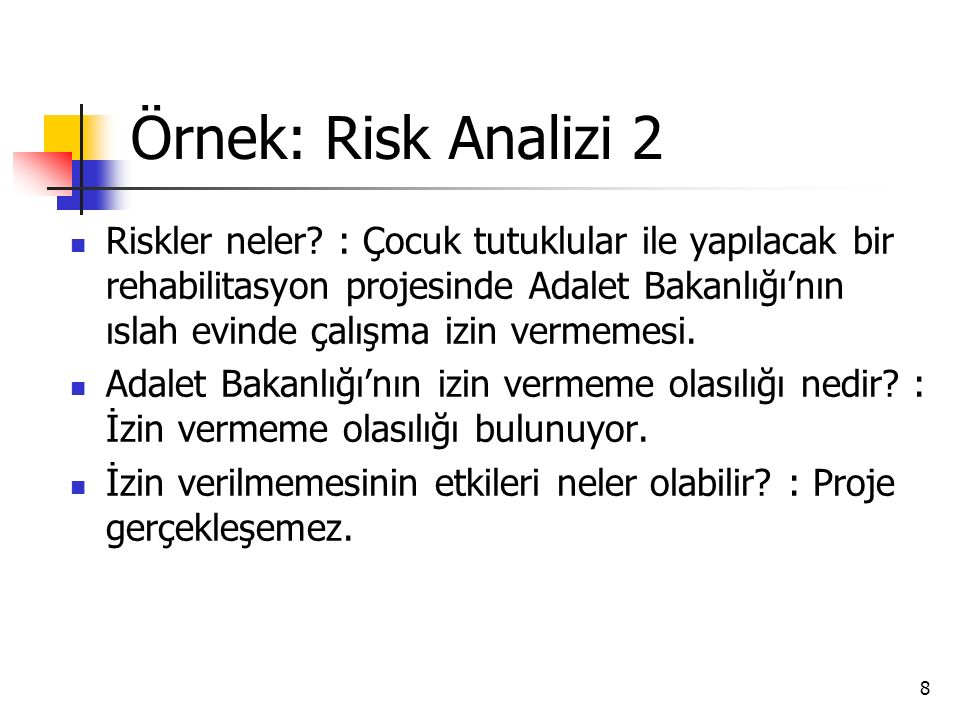 Örnek: Risk Analizi 2
