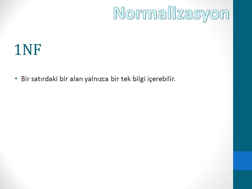 Normalizasyon 1NF Bir satırdaki bir alan yalnızca bir tek bilgi içerebilir.