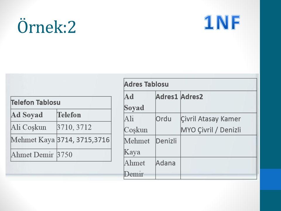 Örnek:2 1NF
