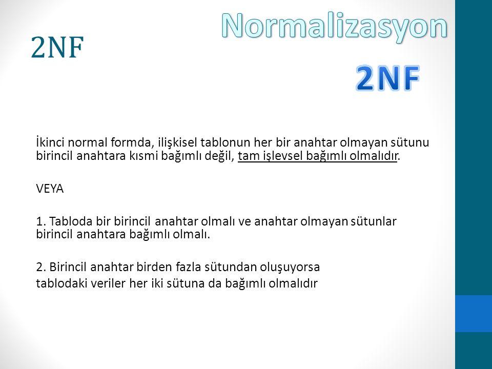Normalizasyon 2NF. 2NF.