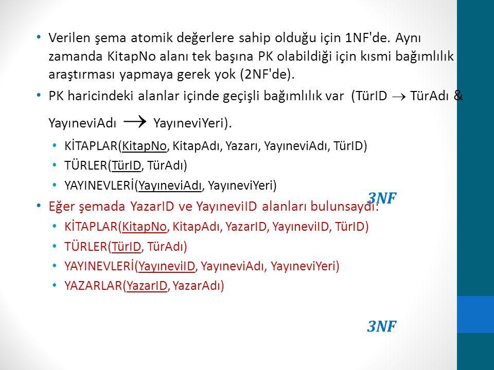 Verilen şema atomik değerlere sahip olduğu için 1NF de