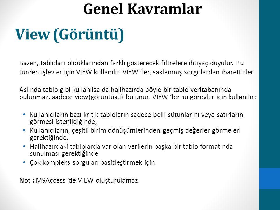 View (Görüntü) Genel Kavramlar