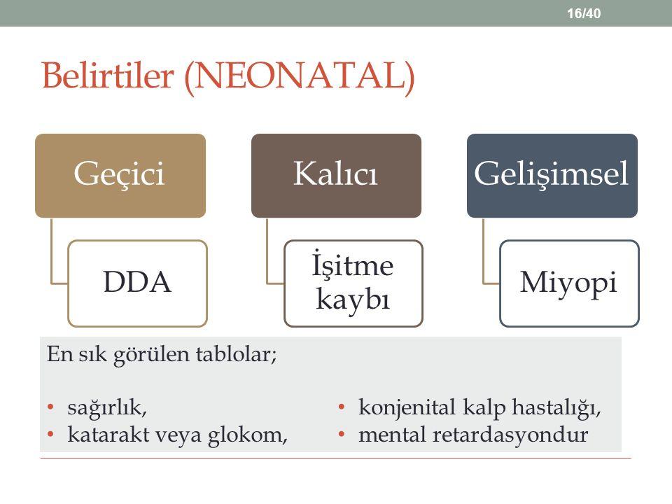 Belirtiler (NEONATAL)