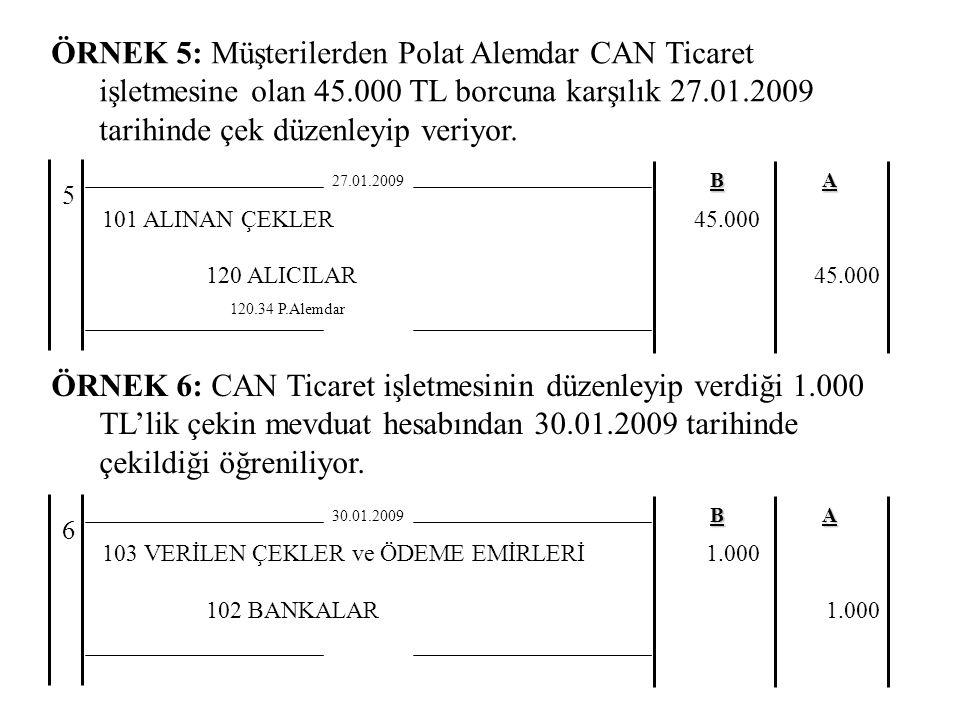 ÖRNEK 5: Müşterilerden Polat Alemdar CAN Ticaret işletmesine olan 45