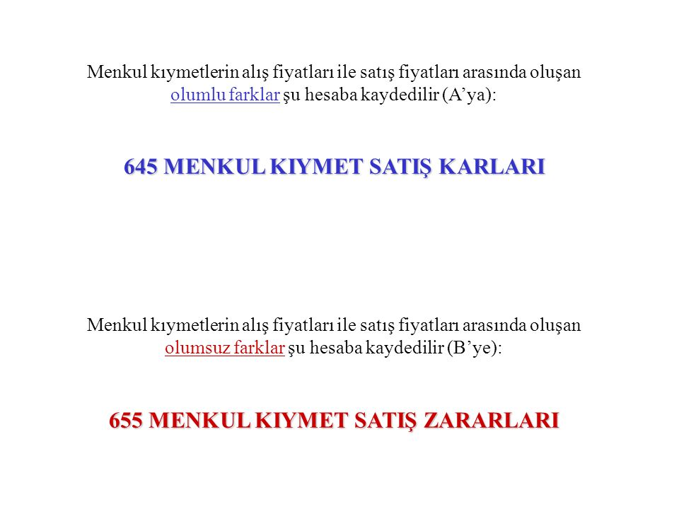 645 MENKUL KIYMET SATIŞ KARLARI 655 MENKUL KIYMET SATIŞ ZARARLARI