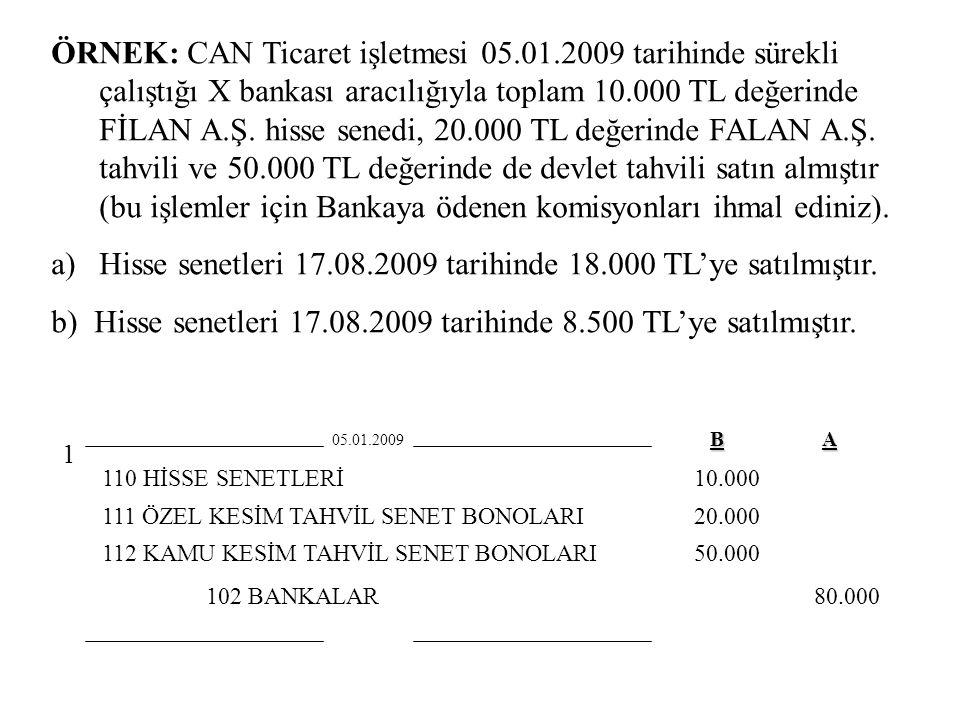 Hisse senetleri 17.08.2009 tarihinde 18.000 TL'ye satılmıştır.