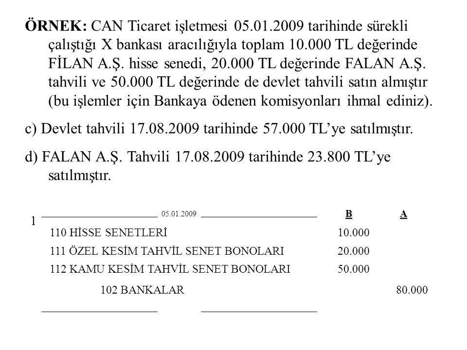 c) Devlet tahvili 17.08.2009 tarihinde 57.000 TL'ye satılmıştır.