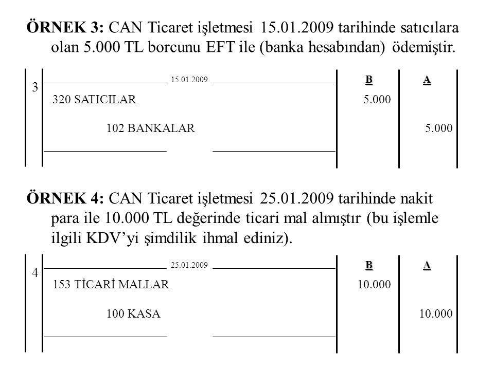 ÖRNEK 3: CAN Ticaret işletmesi 15.01.2009 tarihinde satıcılara olan 5.000 TL borcunu EFT ile (banka hesabından) ödemiştir.