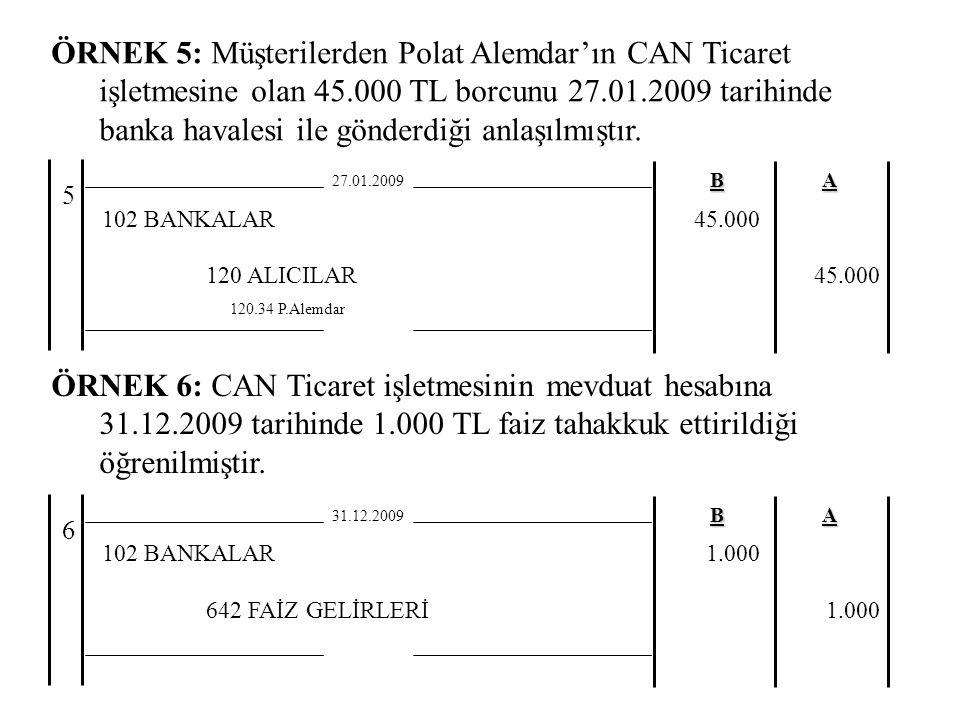 ÖRNEK 5: Müşterilerden Polat Alemdar'ın CAN Ticaret işletmesine olan 45.000 TL borcunu 27.01.2009 tarihinde banka havalesi ile gönderdiği anlaşılmıştır.