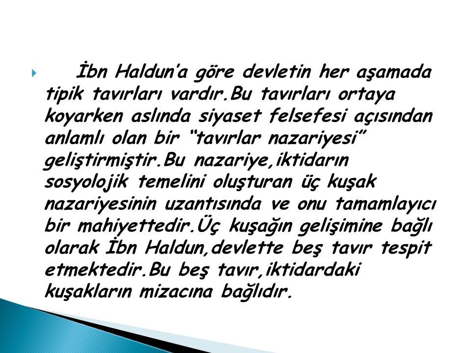 İbn Haldun'a göre devletin her aşamada tipik tavırları vardır