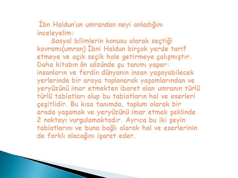 İbn Haldun'un umrandan neyi anladığını inceleyelim: