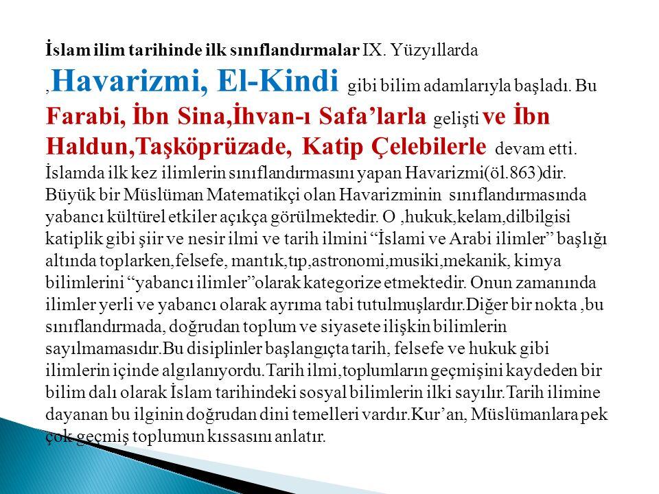 İslam ilim tarihinde ilk sınıflandırmalar IX