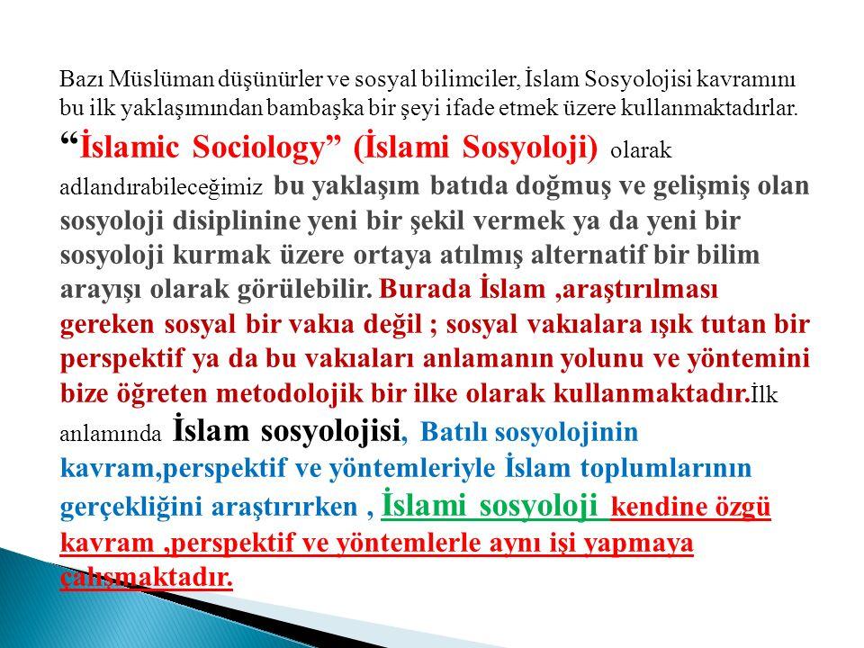 Bazı Müslüman düşünürler ve sosyal bilimciler, İslam Sosyolojisi kavramını bu ilk yaklaşımından bambaşka bir şeyi ifade etmek üzere kullanmaktadırlar.