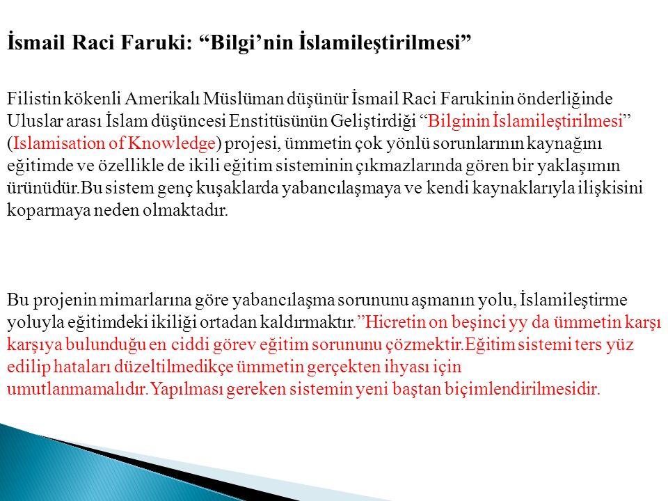 İsmail Raci Faruki: Bilgi'nin İslamileştirilmesi