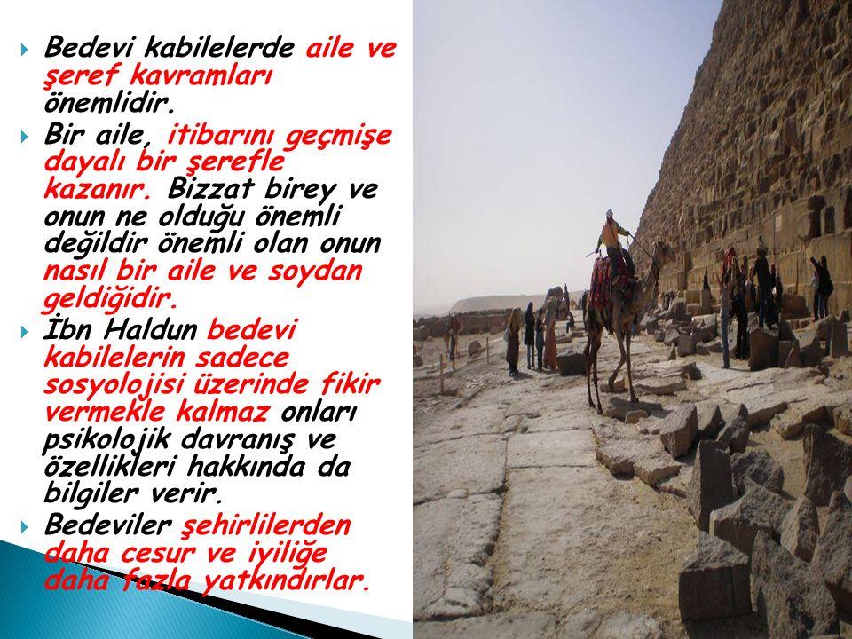 Bedevi kabilelerde aile ve şeref kavramları önemlidir.