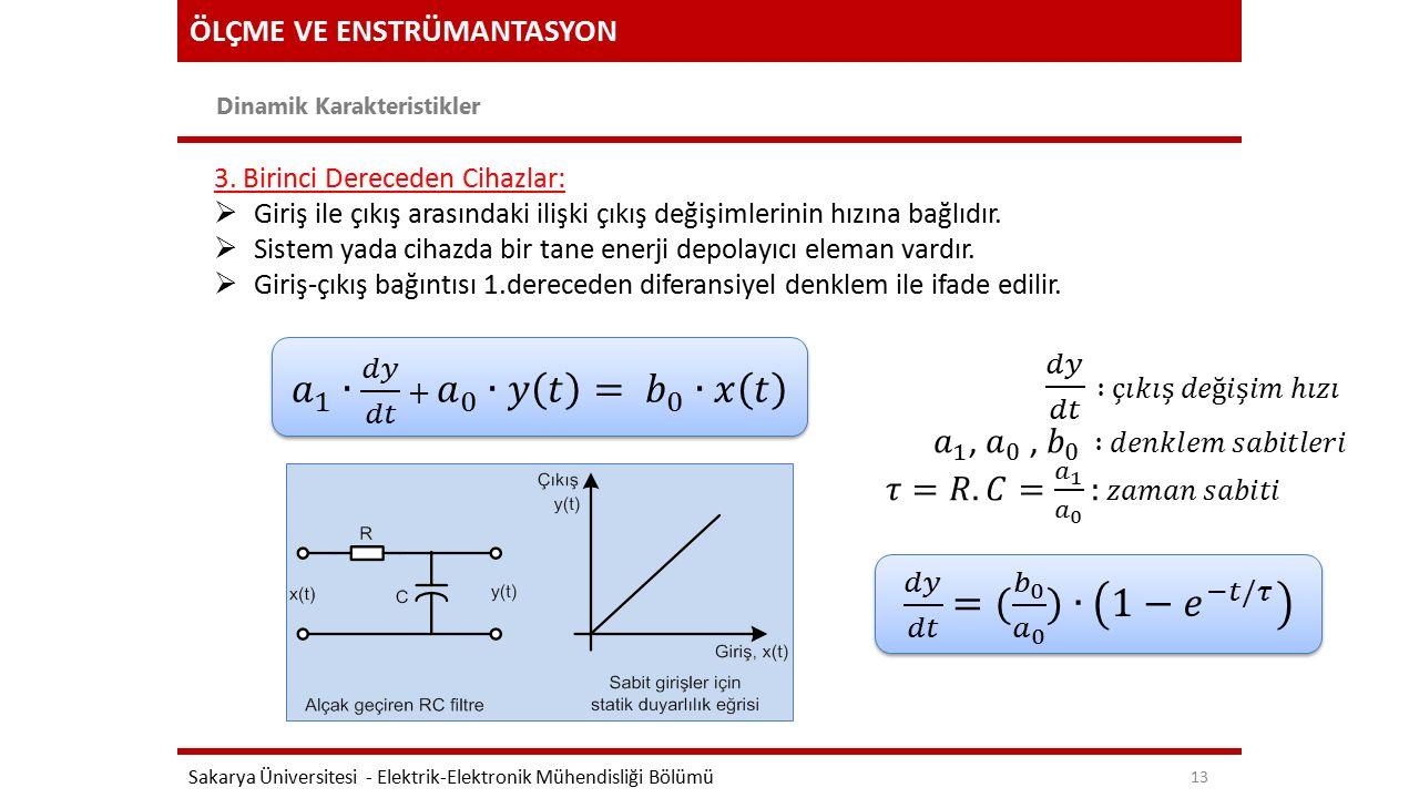 𝑎 1 ∙ 𝑑𝑦 𝑑𝑡 + 𝑎 0 ∙𝑦 𝑡 = 𝑏 0 ∙𝑥 𝑡 𝑑𝑦 𝑑𝑡 =( 𝑏 0 𝑎 0 )∙ 1− 𝑒 −𝑡/𝜏