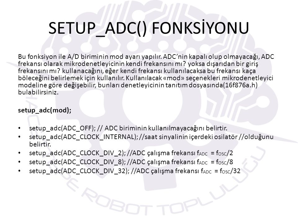 SETUP_ADC() FONKSİYONU