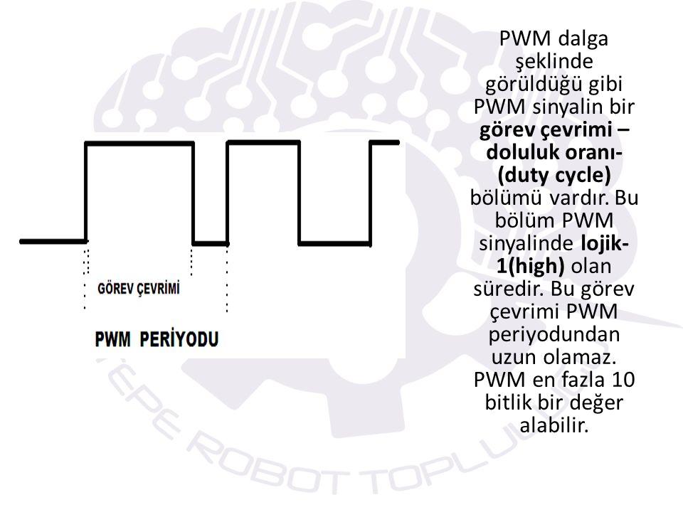 PWM dalga şeklinde görüldüğü gibi PWM sinyalin bir görev çevrimi –doluluk oranı- (duty cycle) bölümü vardır.