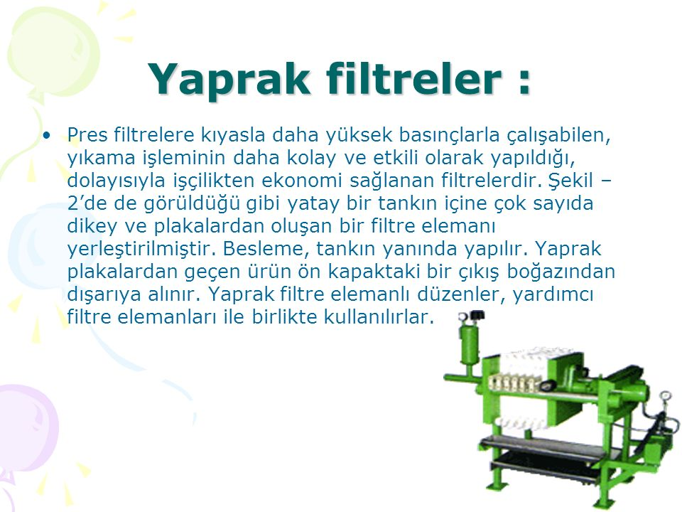 Yaprak filtreler :