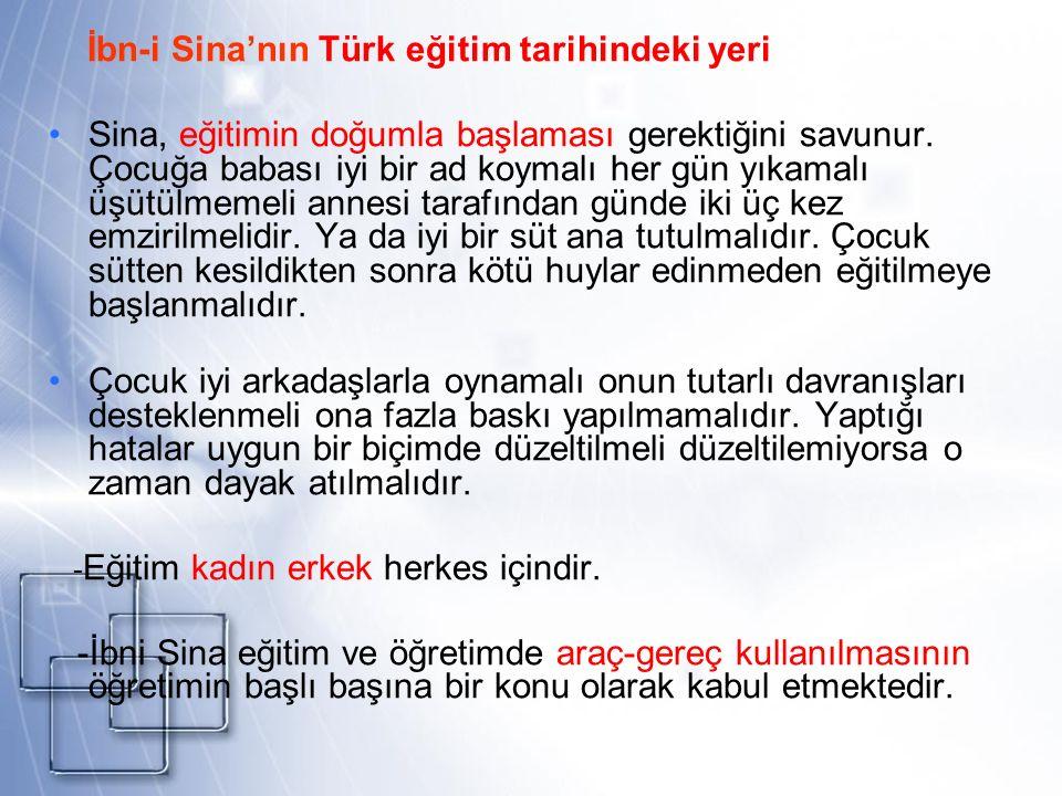 İbn-i Sina'nın Türk eğitim tarihindeki yeri